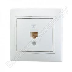 Телефонная розетка lezard mira евро белый с белой вставкой 701-0202-137