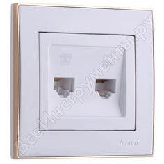 Розетка lezard rain компьютер+телефон белый с бок. вст. золото 703-0226-143