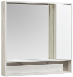 Зеркальный шкаф 100х91 см белый глянец/дуб крафт Акватон Флай 1A237802FAX10