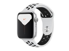 Умные часы APPLE Watch Nike Series 5 44mm Silver Aluminium with Pure Platinum-Black Nike Sport Band SM - ML MX3V2RU/A Выгодный набор + серт. 200Р!!!