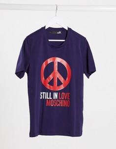 Футболка с горнолыжным принтом Love Moschino-Синий
