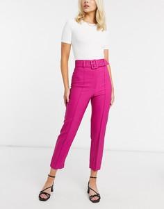 Ярко-розовые широкие брюки со складками River Island-Розовый