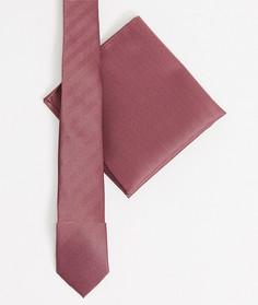 Фактурный бордовый галстук и платок для нагрудного кармана ASOS DESIGN-Красный