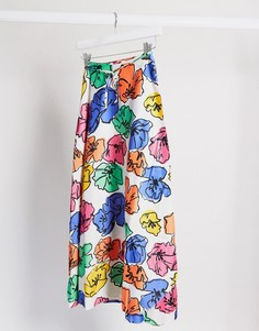 Юбка миди с запахом и цветочным принтом ASOS DESIGN-Мульти