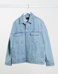 Голубая джинсовая oversized-куртка ASOS DESIGN-Синий