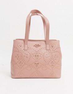 Сумка-шопер с заклепками Love Moschino-Розовый