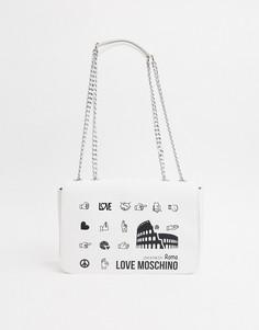 Белая сумка на плечо Love Moschino-Белый