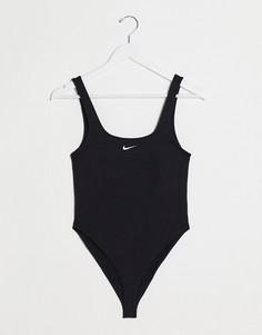 Черная майка-боди с овальным вырезом Nike-Черный
