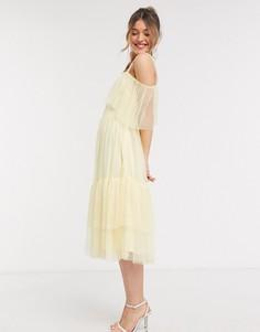 Желтое ярусное платье миди на одно плечо Anaya With Love-Желтый