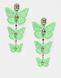 Серьги-подвески с неоново-зелеными бабочками ASOS DESIGN-Зеленый