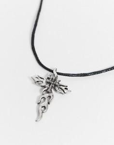 Чокер с серебристой подвеской-крестом ASOS DESIGN-Серебряный