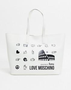 Белая сумка-тоут Love Moschino Roma-Белый