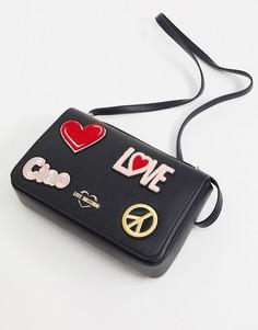 Черная сумка на плечо с нашивками Love Moschino-Черный