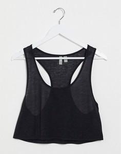 Черная укороченная майка с добавлением льна ASOS DESIGN-Черный