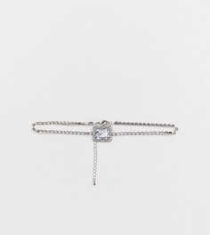 Серебристое ожерелье-чокер с камнем ASOS DESIGN Curve-Серебряный