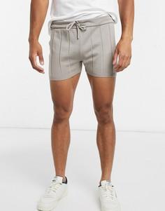 Серо-коричневые трикотажные шорты для бега от комплекта ASOS DESIGN-Серый