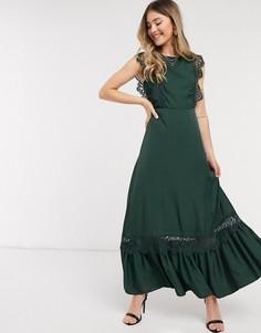 Зеленоеатласное платье максис кружевом и открытой спиной Object-Зеленый