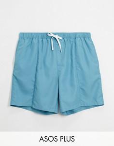 Синие шорты для плавания с защипами ASOS DESIGN Plus-Синий
