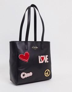 Черная сумка-шоппер с нашивками Love Moschino-Черный
