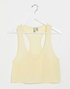 Желтая короткая майка с добавлением льна ASOS DESIGN-Желтый