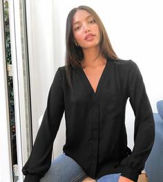 Черная блузка с длинными рукавами и карманом ASOS DESIGN Tall-Черный