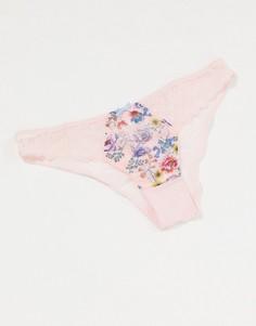 Розовые бразильские трусы с цветочным рисунком Figleaves-Розовый