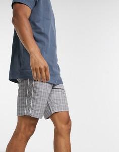 Серые шорты в клеткус полосками по бокам Jack & Jones Intelligence-Серый