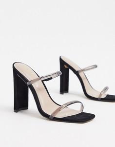 Босоножки на каблуке с виниловыми ремешками Aldo-Черный