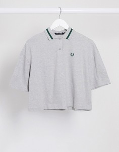Серая рубашка в стиле oversized из пике Fred Perry-Серый