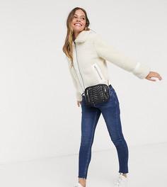 Плюшевое пальто кремового цвета Miss Selfridge Petite-Кремовый