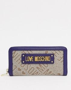 Жаккардовый кошелек с логотипом Love Moschino-Синий