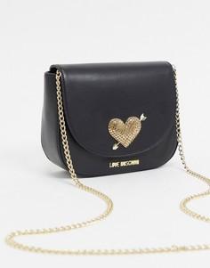 """Черная маленькая сумка через плечо с отделкой """"сердечко"""" Love Moschino-Черный"""