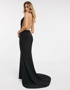 Черное платье макси с халтером и годе Club L London-Черный