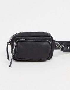 Черная кожаная сумка через плечо Topshop-Черный