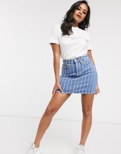 Голубая джинсовая юбка в полоску Calvin Klein-Синий