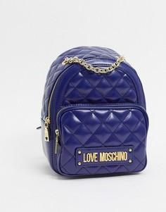 Темно-синий стеганый рюкзак с цепочкой Love Moschino