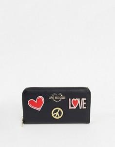Черный кошелек с нашивками Love Moschino