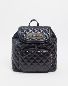 Черный стеганый рюкзак с карманом Love Moschino