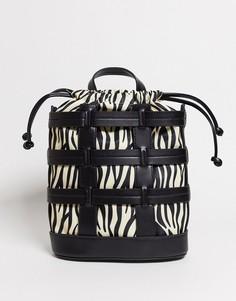 Черный рюкзак с зебровым рисунком Skinnydip
