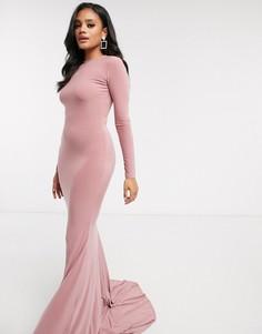 Бежевое платье макси с открытой спиной Club L London-Розовый