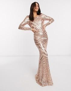 Розово-золотистое платье макси с открытой спиной и геометрическим узором из пайеток Goddiva-Золотой