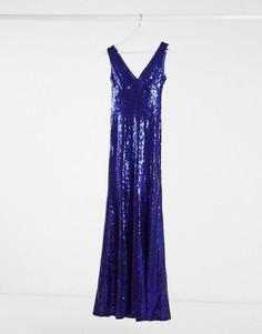 Синее платье макси с пайетками Goddiva-Синий