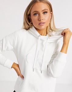 Белый худи с атласным логотипом Calvin Klein