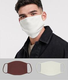 2 маски для лица (бежевая/коричневая) ASOS DESIGN-Мульти
