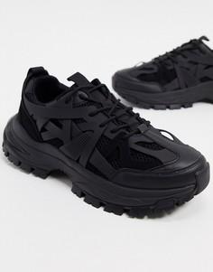 Черные кроссовки на массивной подошве с резиновыми вставками ASOS DESIGN-Синий