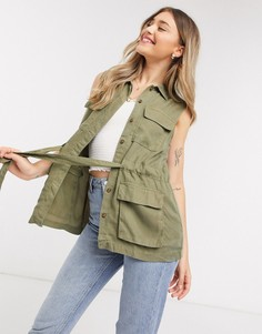 Куртка цвета хаки от комплекта в стиле милитари без рукавов Pieces-Зеленый