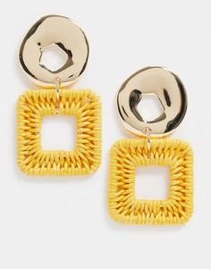 Золотистые серьги с желтыми подвесками из рафииTopshop-Золотой