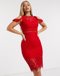 Красное кружевное платье миди с открытыми плечами AX Paris-Красный