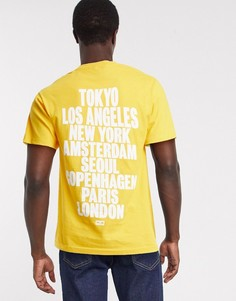 Желтая футболка с принтом на спине Obey international-Золотой