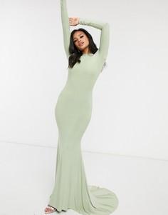 Шалфейно-зеленое платье макси с открытой спиной Club L London-Зеленый